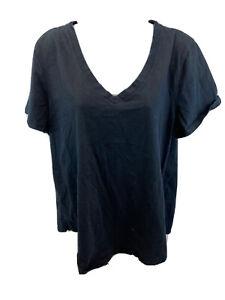 Banana-Republic-Women-039-s-Black-Short-Sleeve-V-Neck-T-Shirt-Sz-XL