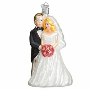 Old World Christmas BRIDAL COUPLE (10163)N Glass Ornament w/ OWC Bx