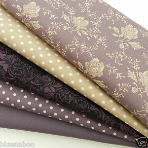 Bundle-5-fat-quarters-lovely-plums-100-cotton-material-fabric-18-x-22-inches