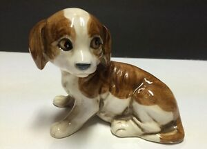 Vintage-Spaniel-Puppy-Dog-Enesco-Japan-E9402-Brown-White-Hand-Painted