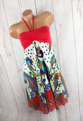 ITALY STYLE Neckholder Kleid Babydoll Sommerkleid Boho rot bunt 34 36 38 40