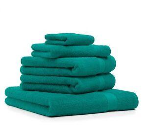 Set-di-5-asciugamani-034-Premium-034-colore-verde-smeraldo