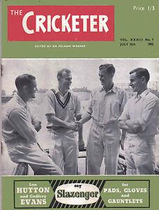 The Cricketer Magazine Vol XXXIII No7 July 26th 1952 - Broadstairs, Kent, United Kingdom - The Cricketer Magazine Vol XXXIII No7 July 26th 1952 - Broadstairs, Kent, United Kingdom