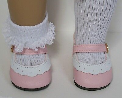 """2-Tone BLACK /& WHITE Classic EZ2 Close Doll Shoes For 18/"""" American Girl Debs"""