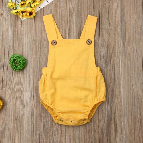 Unisex Toddler Baby Kids Girl Boy Sleeveless Solid Stripe Romper Sunsuit Clothes