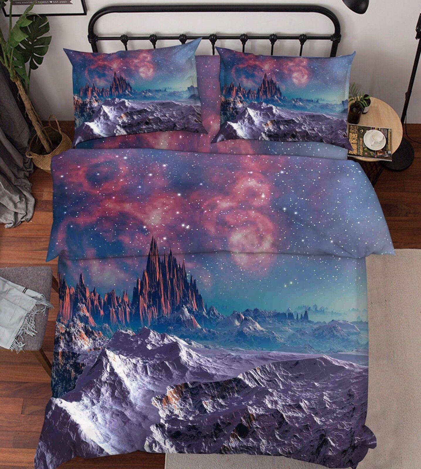 3D Space Hills 816 Bed Pillowcases Quilt Duvet Cover Set Single Queen UK Kyra