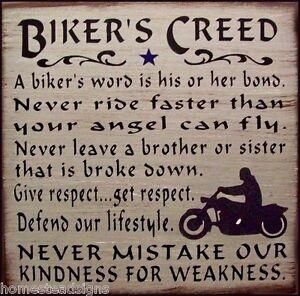 Biker S Creed Motorcycle Rustic Primitive Country Wood