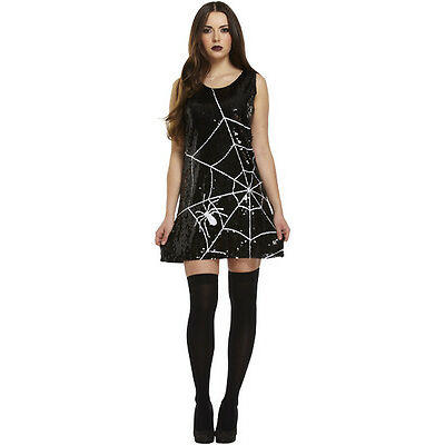 Ladies Sexy Sequin Spiderweb Costume Halloween Fancy Dress Outfit Womens Cob web