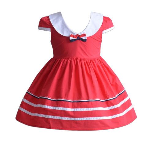 Vestido De Fiesta Cinda y Niñas de Algodón Azul Rojo 3 6 9 12 18 mes 3 4 5 6 7 años