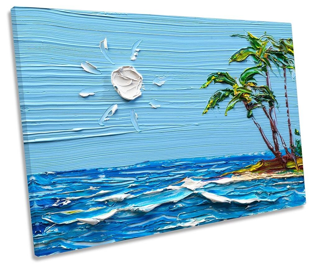 Blau Desert Island Seascape SINGLE CANVAS WALL ARTWORK Print Art