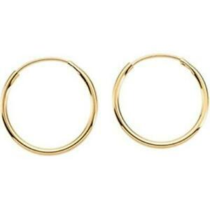 14K-Yellow-Gold-Small-Thin-Endless-Wire-Hoop-Earrings-10mm-or12mm-14KT-Gold