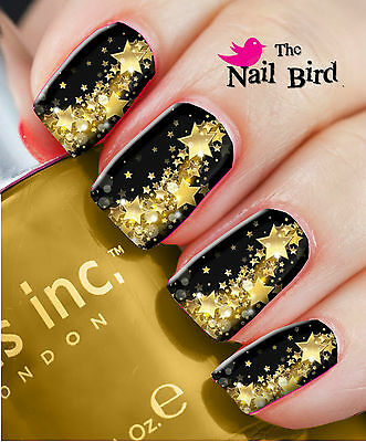 Nail Art Nail Decals Nail Transfers Nail Wraps Gold Colour PARTY STARS Xmas Gift