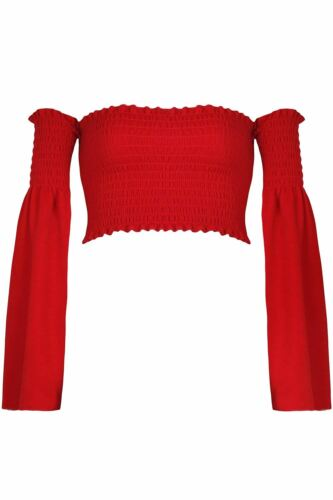 Womens Ladies Long Sleeve Off The Shoulder Bardot Ruched Casual Vest Crop Top