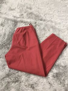 Eileen Fisher Red High Rise Straight Leg Side Zip Elastic Waist Pants Women's M