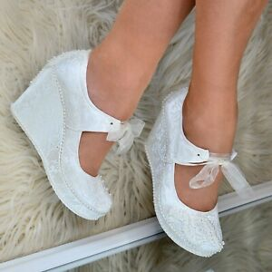 Ladies-Bridal-Wedges-Ivory-LACE-amp-PEARLS-High-heel-Shoes-Lace-up-Mary-Jane-Size