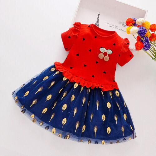 Kinder Mädchen Gedruckt Mesh Splicing Kurzarm Prinzessin Kleid Rundhals