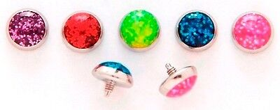 1pc. 14G~5mm Glitter Dome 316L Surgical Steel Threaded Dermal Anchor Top