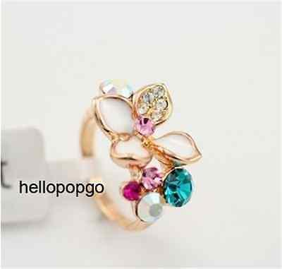 18K Rose Gold GP Austrian Crystal Colorful Flower Ring Size 6,7,8,9 BR1151