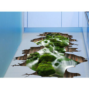 Details About 3d Cracked Nature Stream Art Children Room Floor Wall Sticker Vinyl Decor