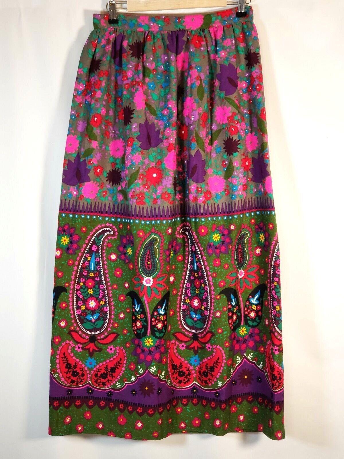 Barkcloth Skirt Vintage Bright 70