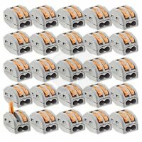 25x Terminal Block Lever Home Wire Connector 2 Pole Cable Clamp Nuts Reusable on sale