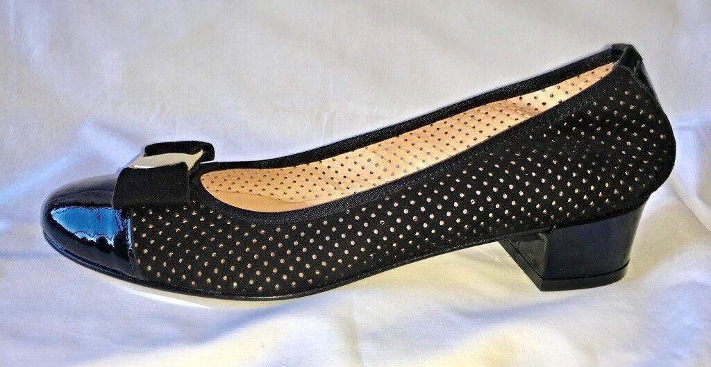 Women's Made in  Pierced Pumps Italian Leather Suede Low Heels UK5
