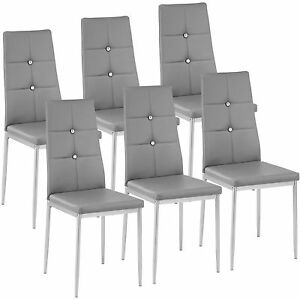 6x-Esszimmerstuhl-Set-Stuehle-Kuechenstuhl-Polsterstuhl-Stuhlgruppe-Stuhl-grau