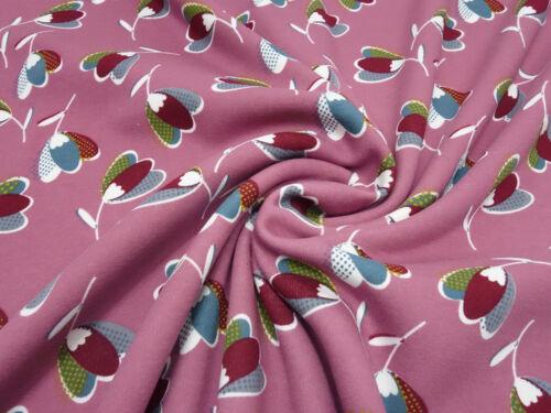 Stoff Alpenfleece Sweatshirtstoff Blumen retro rosa weiß gelb grau Kleiderstoff