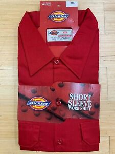 DICKIES-SHORT-SLEEVE-WORK-SHIRT-BUTTON-UP-STAIN-RELEASE-RED-MENS-SZ-XL-2XL