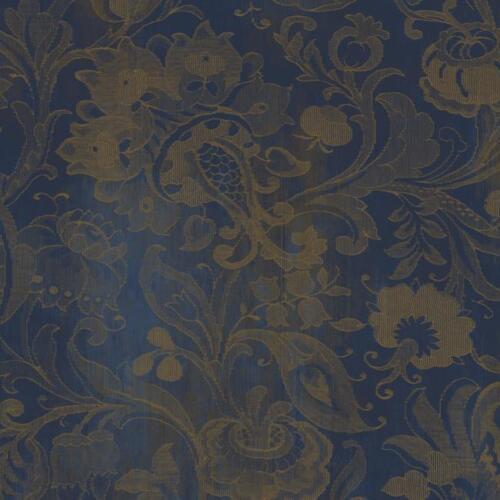 Wallpaper Designer Metallic Dark Gold Floral Vine on Navy