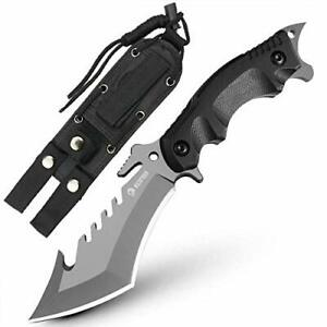"""NedFoss Fixed Blade Survival Knife with Sheath 9"""" Full Tang Camping Knife wit..."""