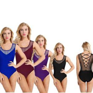 Adult-Girls-Gymnastics-Leotard-Ballet-Dancewear-Costume-Bodysuit-Fancy-Dress
