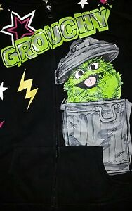 Details About Large Oscar The Grouch Hoodie Grouchy Punk Rock Cute Funny Sesame Street Retro