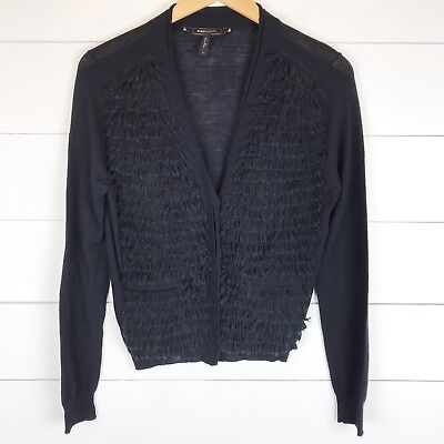 BCBG Maxazria Women's S Cardigan Sweater Wool Fringe Loops Button Up Long Sleeve | eBay