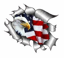 LARGE Ripped Torn Metal Look Design With American Eagle & US Flag car sticker