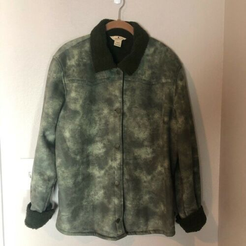 WOOLRICH Green Tie Dye Sherpa Trucker Jacket L