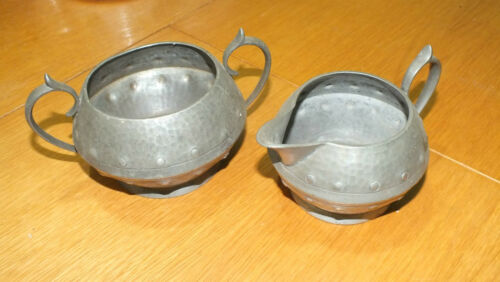 UNITY PEWTER SUGAR BOWL 15x9x12cm AND MILK JUG 13x8x10cm
