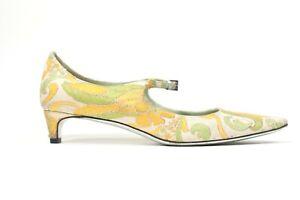 Prada-Womens-Size-36-US-6-Green-Yellow-Pumps-Pointy-Toe-Kitten-Heel-Brocade-Shoe