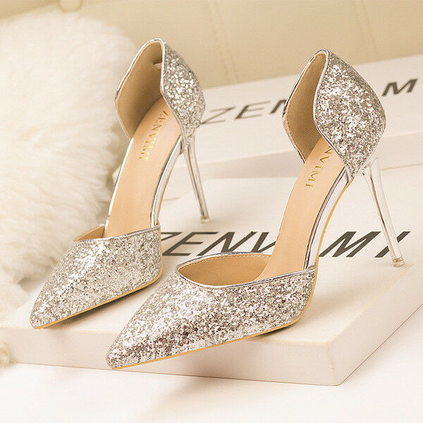 Stiletto zapatos decolte sandali eleganti glitter glitter glitter  simil pelle 11 plata 1187  alta calidad