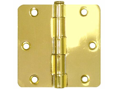 "50 Pack Polished Brass 3.5/"" x 3.5/"" 1//4 Radius Corner Interior Door Hinges"