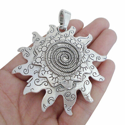 2pcs Antique Silver Large Spiral Sun Flower Charms Pendants for Necklace Making