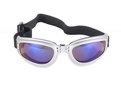 Kickstart Nomad Silver Frame Blue Mirror Folding Sports Goggles Glasses Skiing