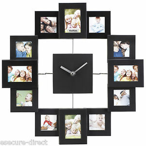 VonHaus Black Aluminium Modern Multi 12 Picture Photo Frame Wall Collage Clock