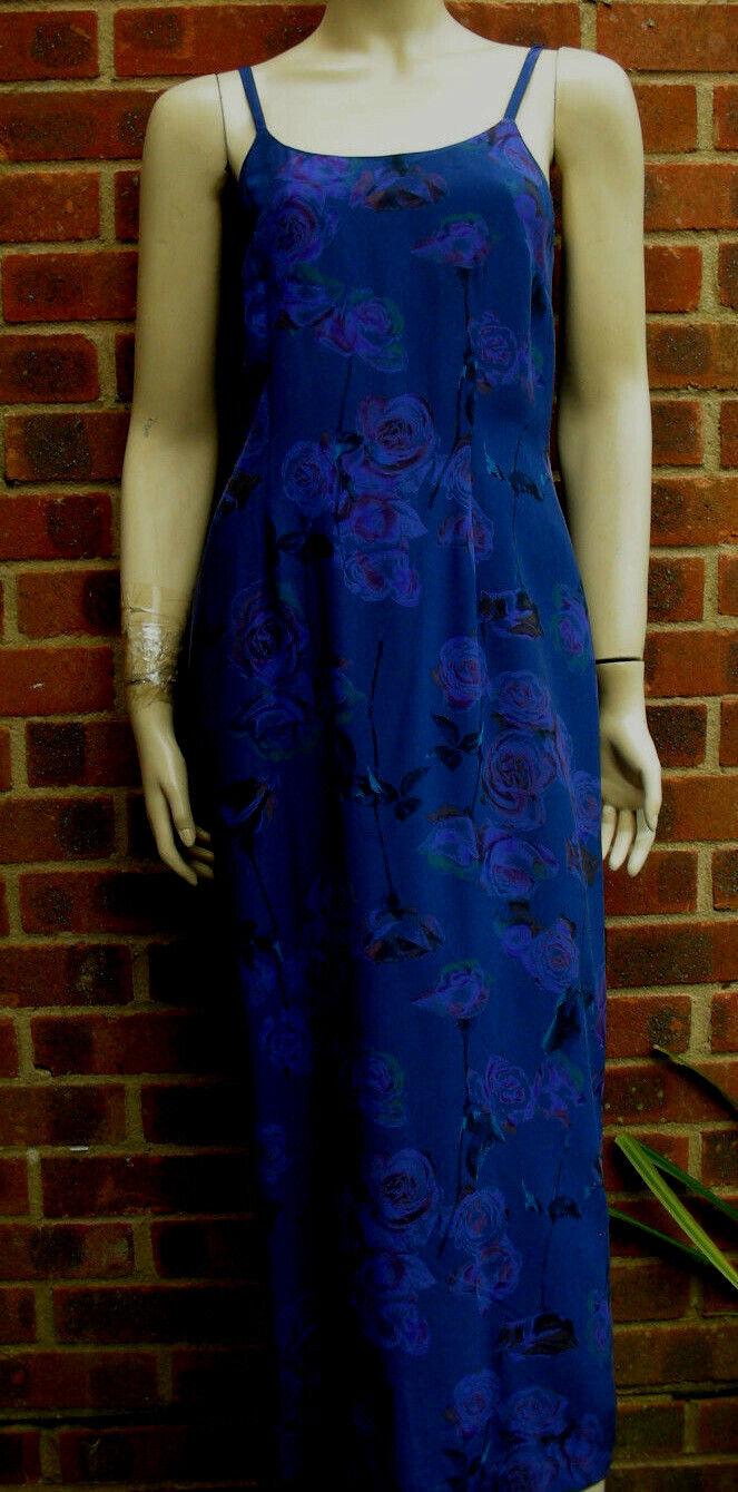 Vintage Laura Ashley 100% Silk Floral Pattern Blau Dress UK Größe 12 US 8