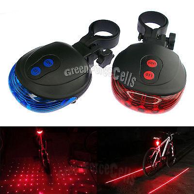 5 LED Laser Line Star Cross Cycling Bicycle Bike Taillight Warning Lamp Flashing