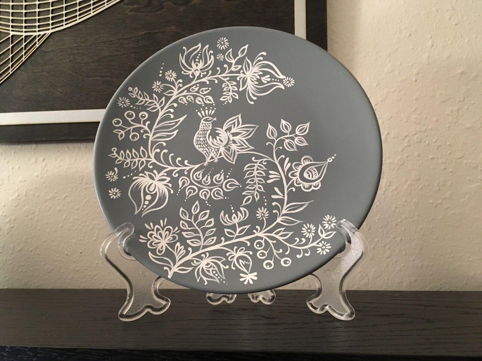 grau & Weiß hand painted decorative plate bird flowers BoHo decor 7.75  + stand