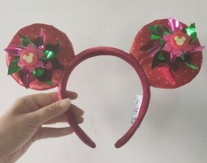 Disney-Parks-arrival-Micky-Mouse-red-Ears-flowers-Headband-Party-NEW