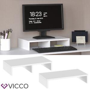 VICCO-Monitorstaender-50cm-Weiss-Schreibtischaufsatz-Bildschirmstaender-PC-Laptop