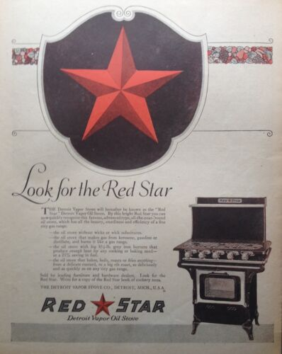 1919 AD XA4RED STAR DETROIT VAPOR STOVE CO. CAST IRON STOVE