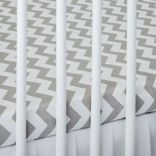 2 x COT BED FITTED SHEET grey chevron white 60x120 cm 70x140 cm PURE COTTON